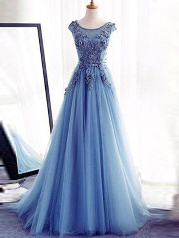 Jewel Brush Train Light Sky Blue Prom Dresses with Applique
