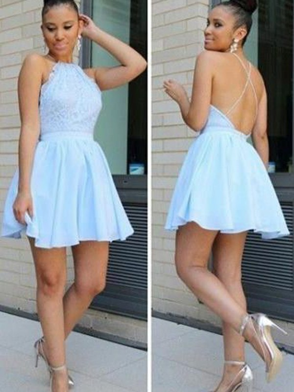 Short/Mini Light Sky Blue Halter Homecoming Dresses with Lace