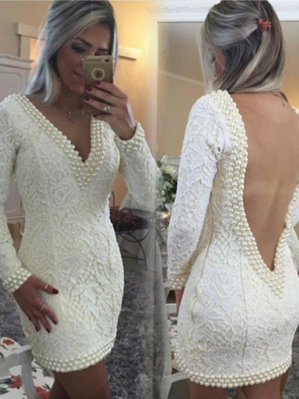 A-Line V-neck Short/Mini White Homecoming Dresses