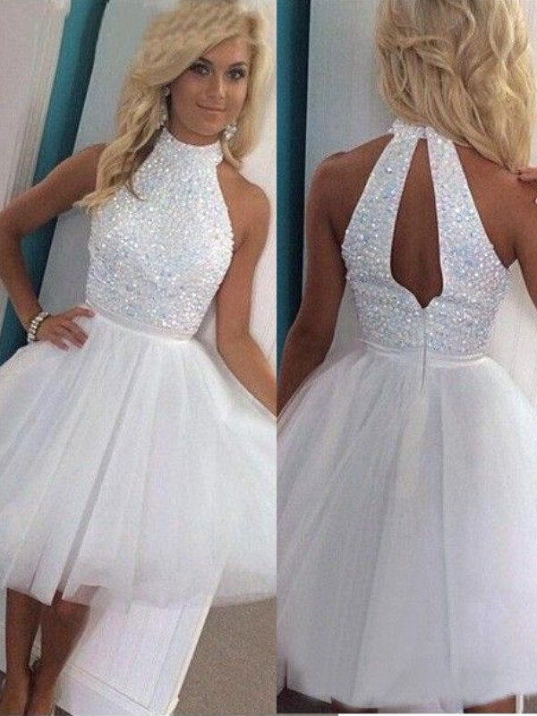 Tulle A-Line Short/Mini Halter White Homecoming Dresses