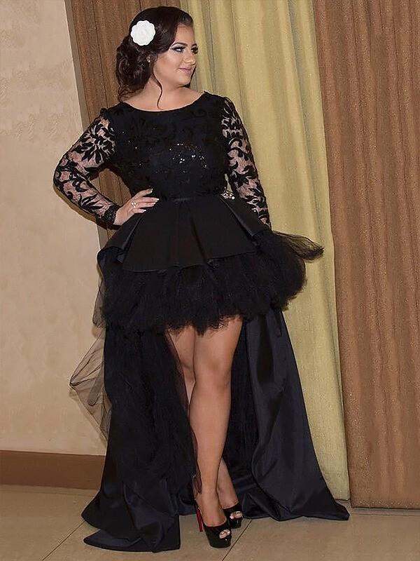Satin Scoop Asymmetrical Black Prom Dresses