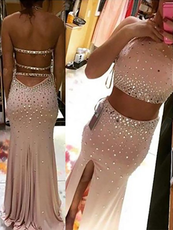 Pink Sheath Halter Brush Train Prom Dresses with Beading