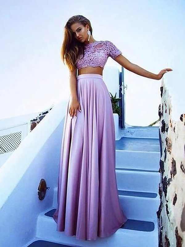 Lace A-Line Floor-Length Short Sleeves Bateau Lilac Prom Dresses