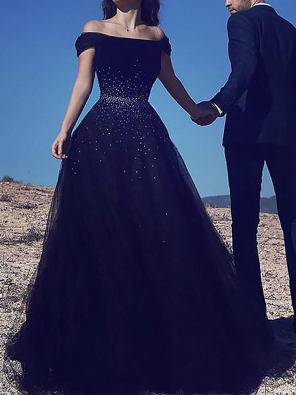 Dark Navy Ball Gown Off-the-Shoulder Brush Train Prom Dresses with Beading