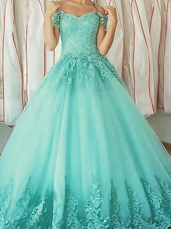 Ball Gown Off-the-Shoulder Floor-Length Green Prom Dresses with Applique