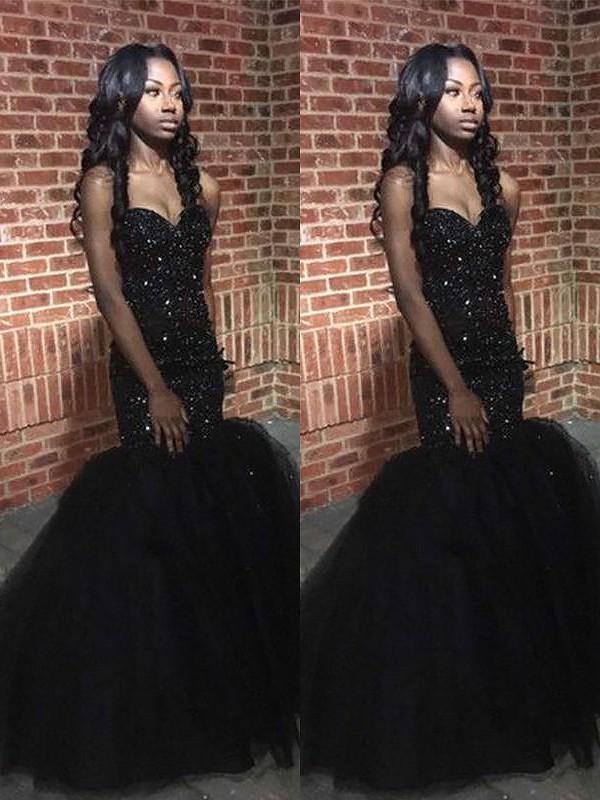 Sequins Sweetheart Floor-Length Black Prom Dresses