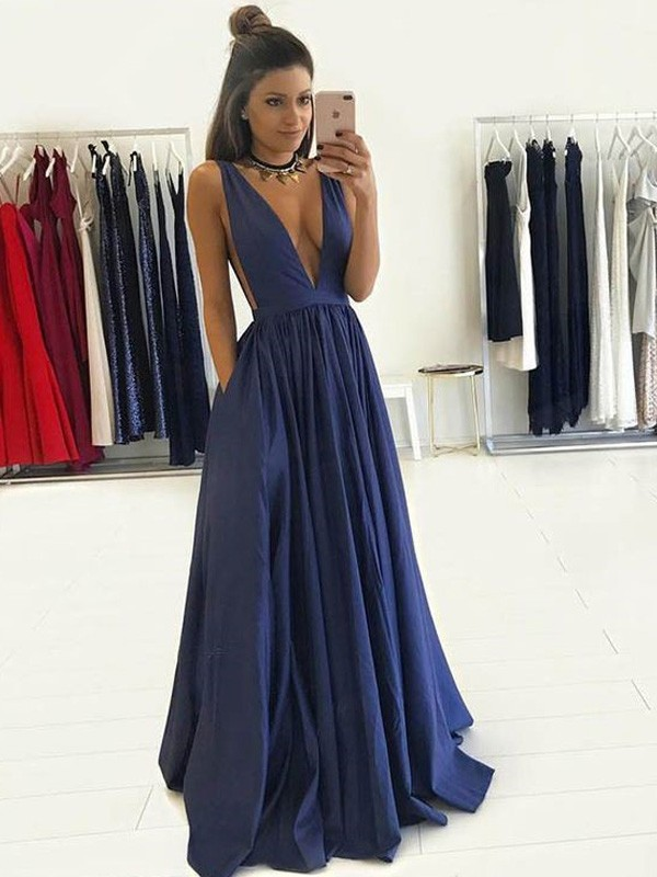 A-Line V-neck Floor-Length Dark Navy Prom Dresses