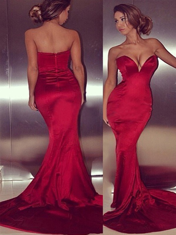 Satin Sweetheart Court Train Red Prom Dresses