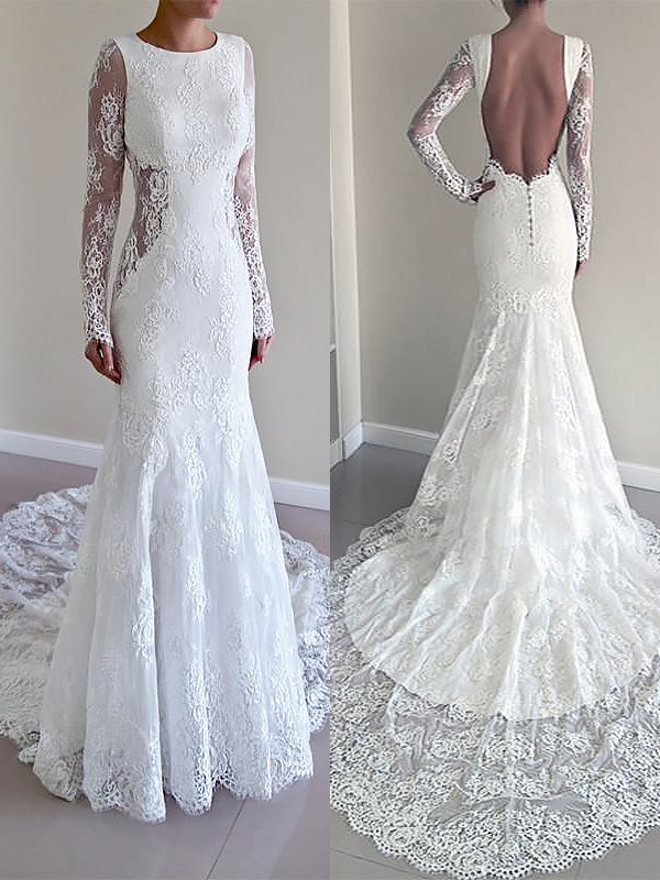 Mermaid Lace Long Sleeves Scoop Court Train Ivory Wedding Dresses