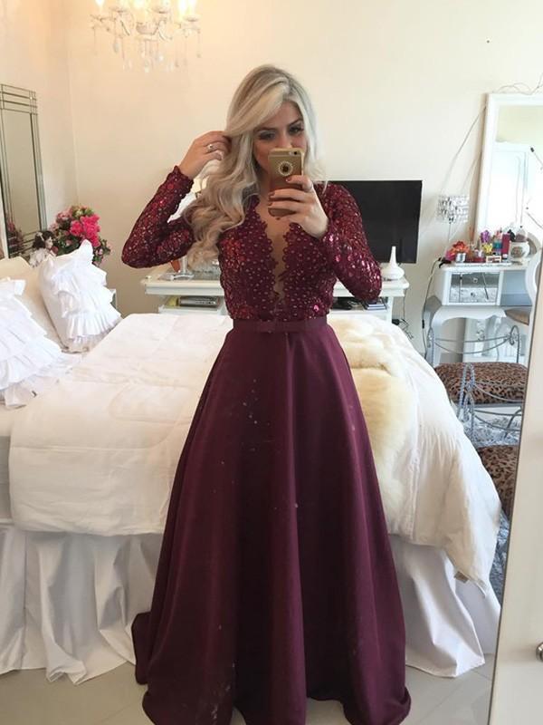 Satin Scoop Floor-Length Burgundy Prom Dresses