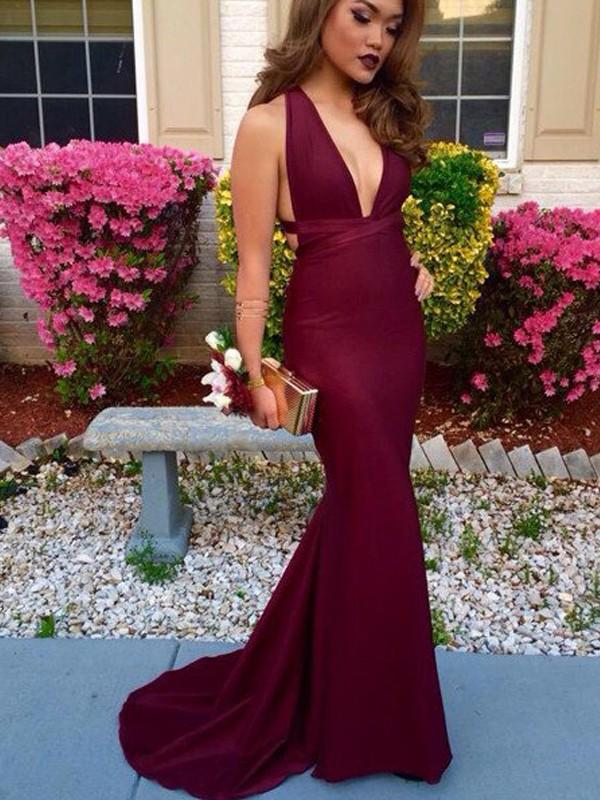 Mermaid Spandex V-neck Brush Train Prom Dresses