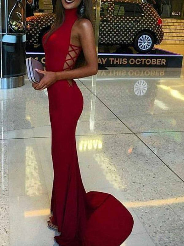 Spandex High Neck Brush Train Red Prom Dresses