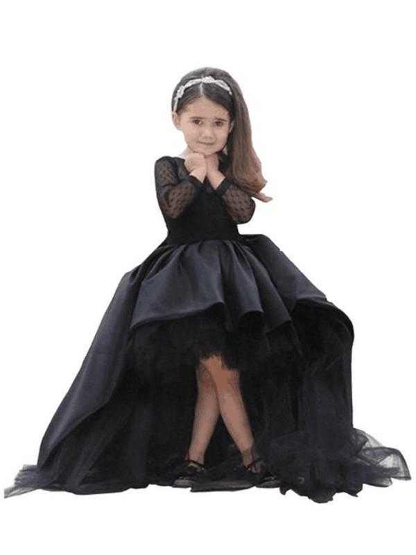 Ball Gown Scoop Sweep/Brush Train Black Flower Girl Dresses