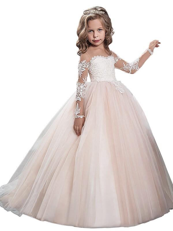 Long Sleeves Ball Gown Scoop Brush Train Ivory Flower Girl Dresses