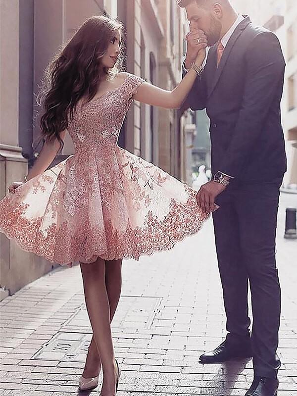 A-Line Scoop Short/Mini Pearl Pink Prom Dresses