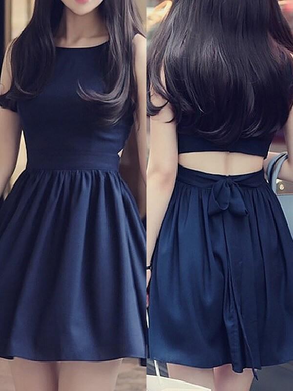 Short/Mini Dark Navy Scoop Prom Dresses