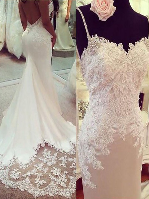Satin Mermaid Court Train Spaghetti Straps Ivory Wedding Dresses