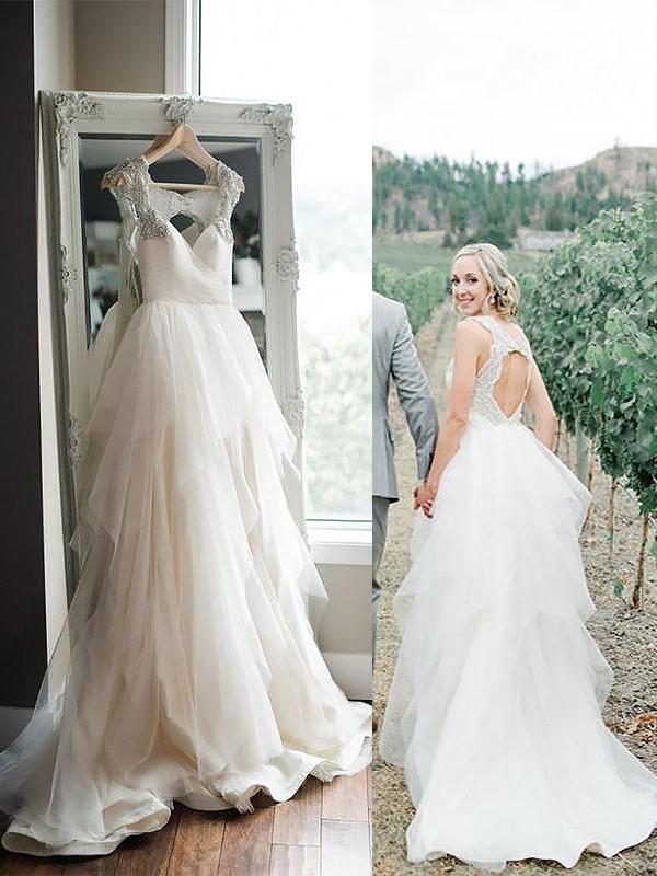 A-Line Tulle Straps Brush Train Ivory Wedding Dresses