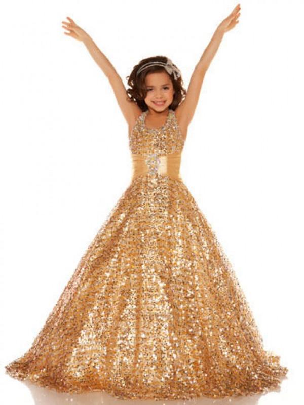 Floor-Length Gold Halter Flower Girl Dresses with Sequin