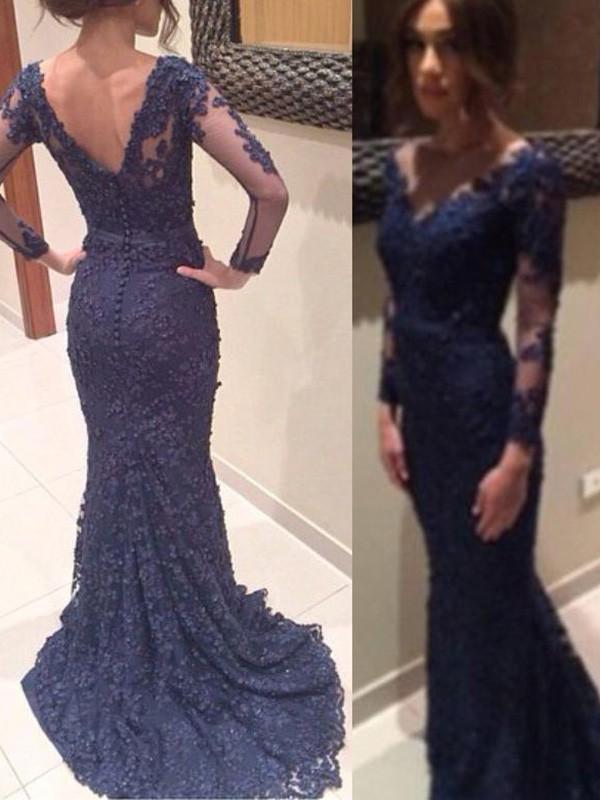 Dark Navy V-neck Lace Brush Train Prom Dresses