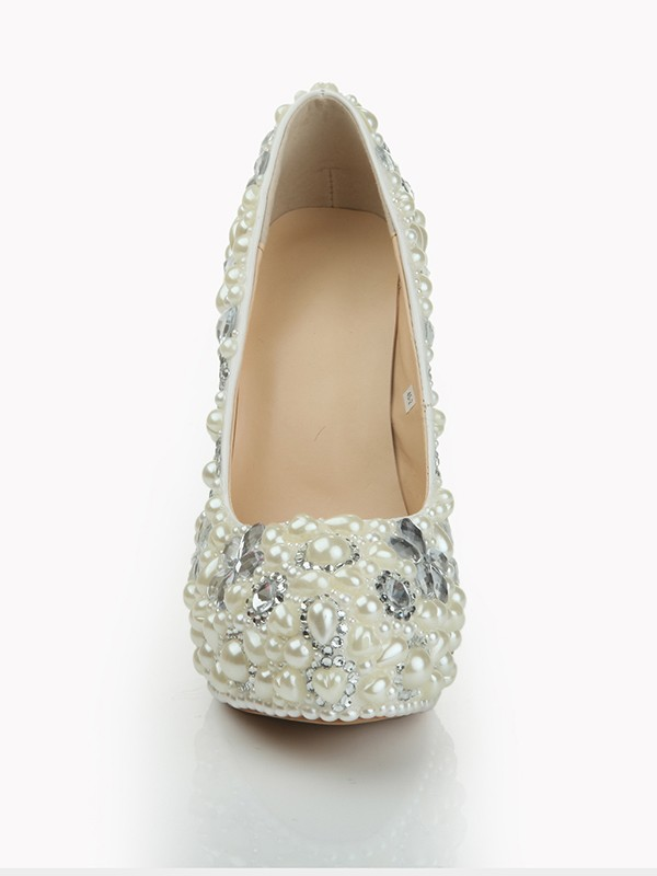 Patent Leather Closed Toe Stiletto Heel Platform With Pearl White Wedding Shoes