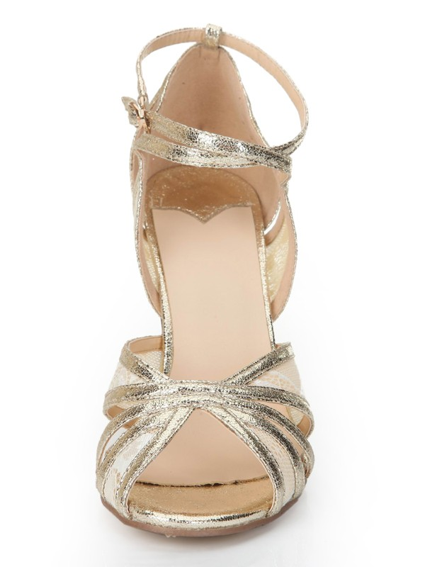 Stiletto Heel Peep Toe Gold Sandals Shoes