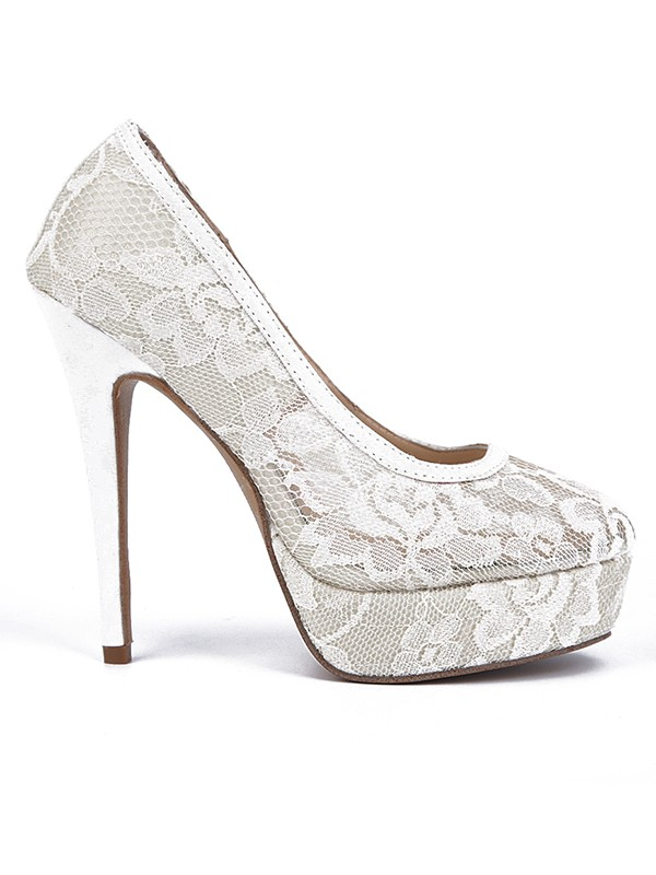 Lace Stiletto Heel Closed Toe Platform High Heels