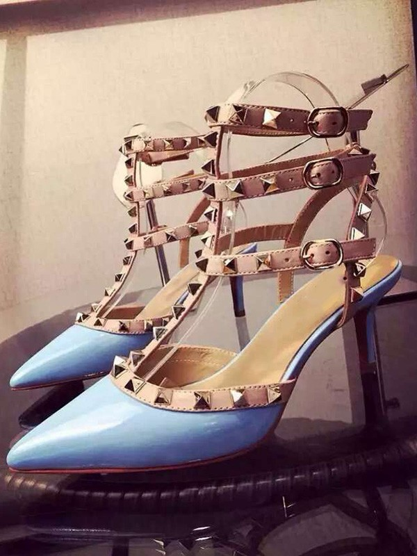 Patent Leather Closed Toe Stiletto Heel With Rivet Party Sandals Shoes