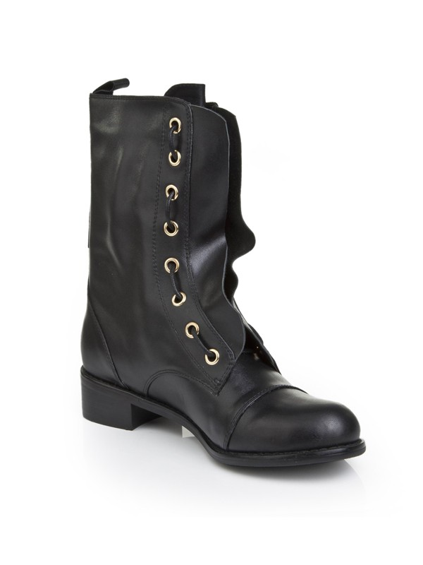Cattlehide Leather With Lace-up Kitten Heel Mid-Calf Black Boots