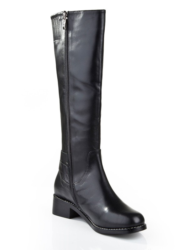 Kitten Heel Closed Toe Cattlehide Leather With Zipper Mid-Calf Black Boots