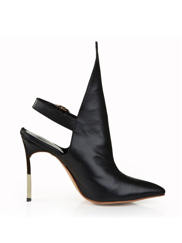 Cattlehide Leather Stiletto Heel Closed Toe With Buckle Black Booties