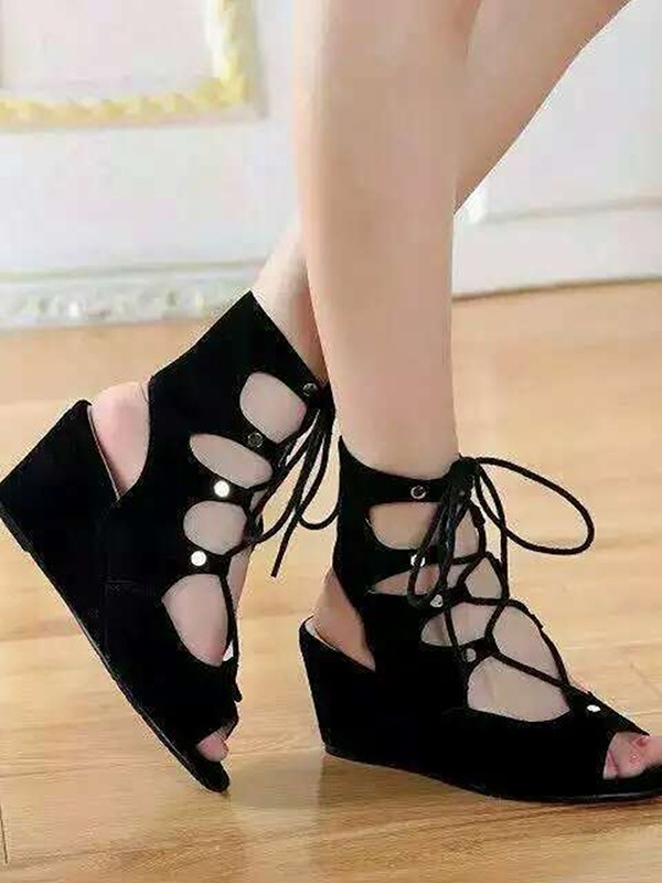 Suede Wedge Heel Peep Toe With Lace-up Sandal Ankle Black Boots