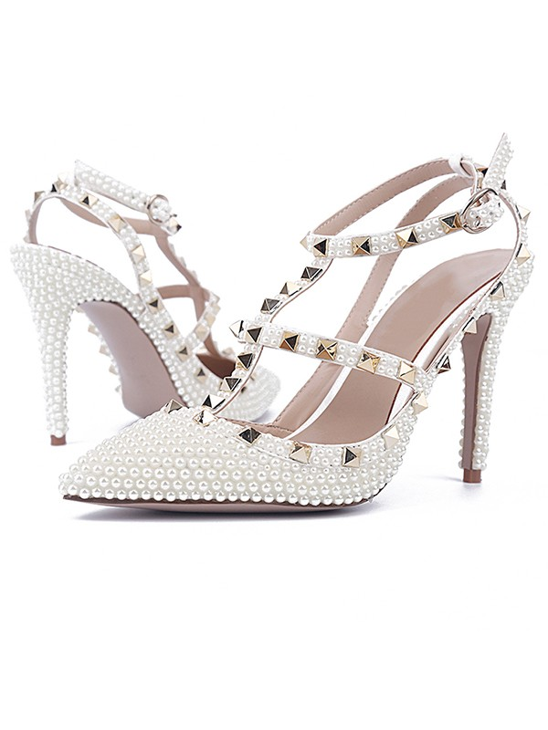 Patent Leather Stiletto Heel Closed Toe With Rivet Sandals Shoes