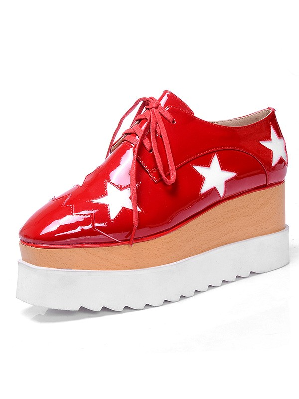 Patent Leather Platform Closed Toe Fashion Sneakers Red Fashion Sneakers
