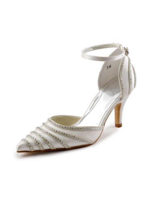 Satin Stiletto Heel Closed Toe Pumps Dance Shoes With Buckle Rhinestone