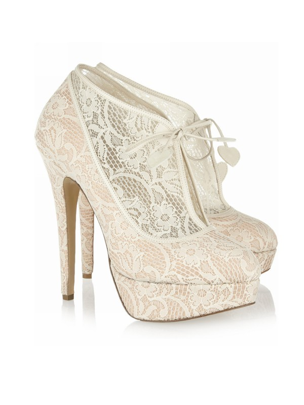Lace Stiletto Heel Closed Toe Platform Wedding Champagne Boots