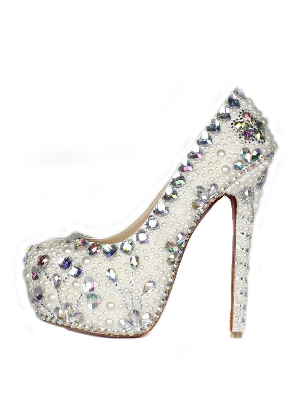 Patent Leather Stiletto Heel Closed Toe Platform With Pearl High Heels