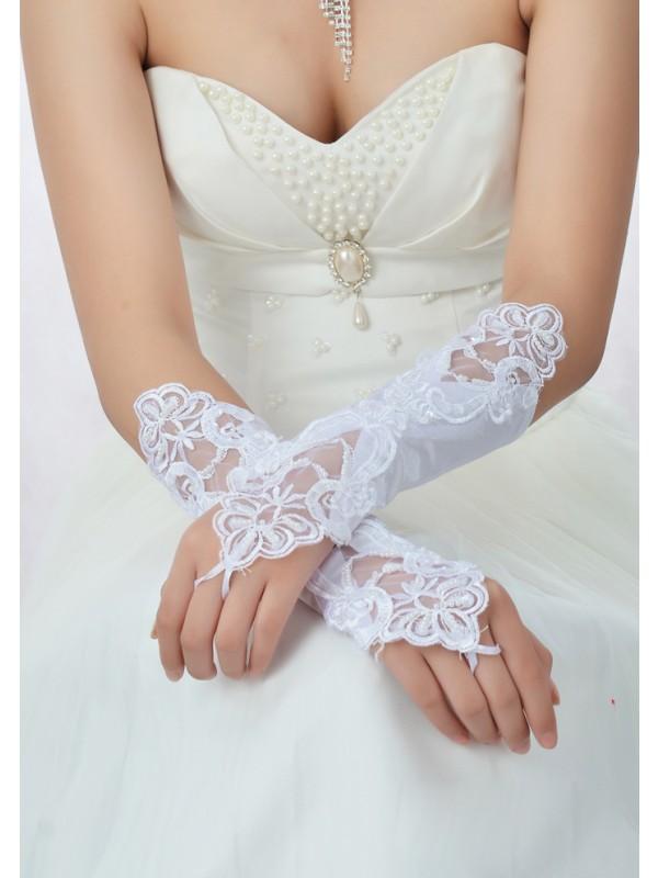 Stunning Beading Lace Satin Bridal Gloves