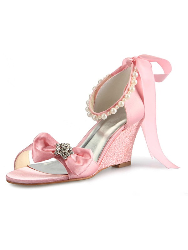 Satin Wedge Heel Peep Toe With Rhinestone Pearl Bowknot Pink Wedding Shoes
