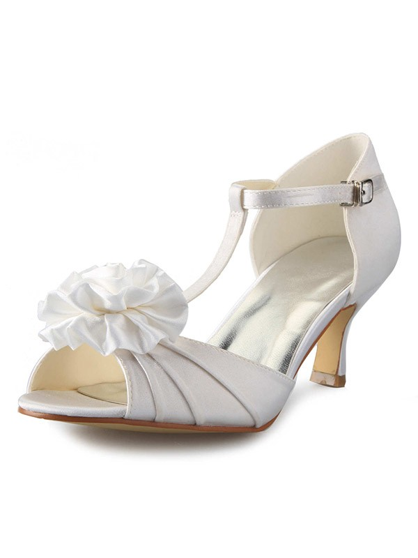Satin Stiletto Heel T-Strap Peep Toe With Flower Dance Shoes