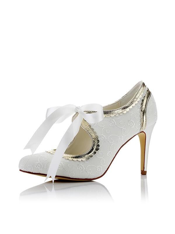 Satin PU Closed Toe Stiletto Heel Wedding Shoes