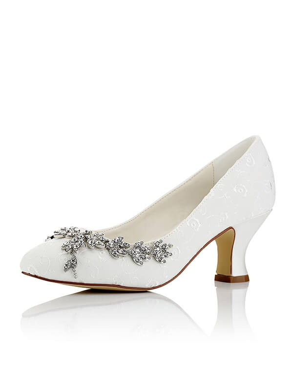 Satin PU Closed Toe Spool Heel Wedding Shoes