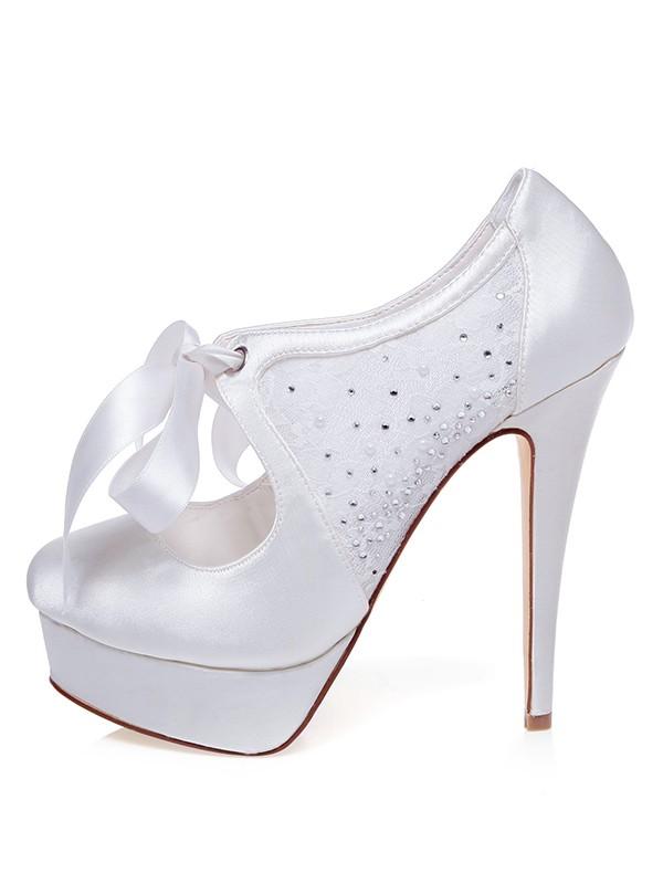 Satin Closed Toe Stiletto Heel Silk Wedding Shoes