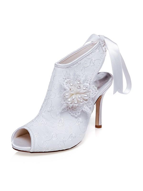 Satin Peep Toe Flower Stiletto Heel Wedding Shoes