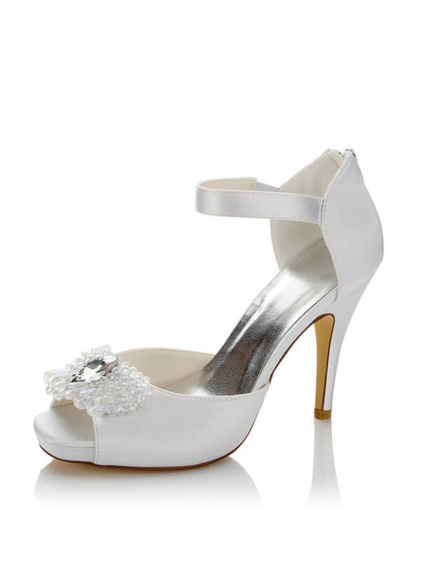 Satin PU Peep Toe Stiletto Heel Wedding Shoes