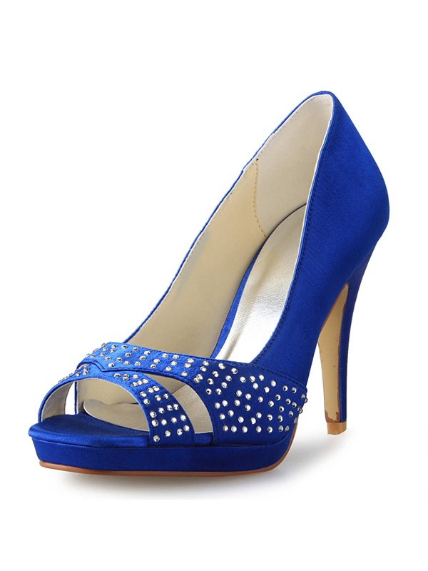 Cone Heel Peep Toe Satin With Rhinestone High Heels