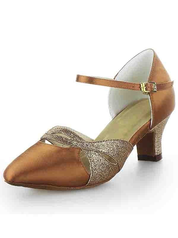 Satin Closed Toe Chunky Heel Buckle Sparkling Glitter Dance Shoes