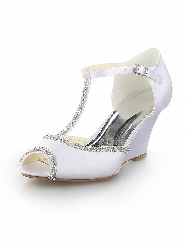 Peep Toe T-Strap With Rhinestone Satin Wedge Heel White Wedding Shoes