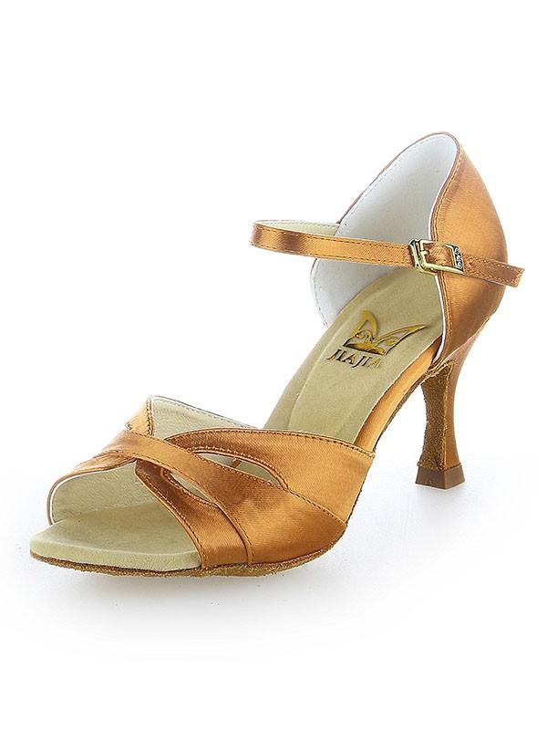 Peep Toe Satin Buckle Stiletto Heel Dance Shoes