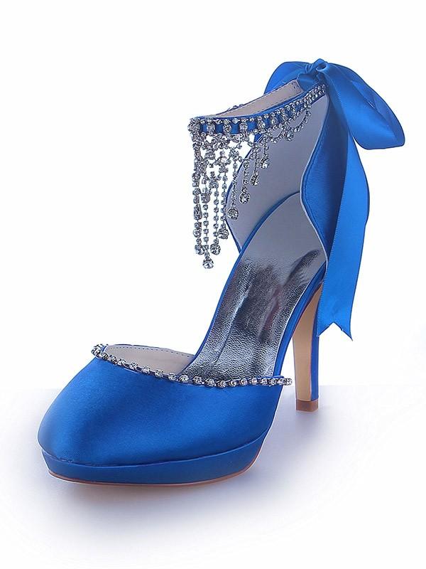 Mary Jane Satin Platform Closed Toe Cone Heel With Rhinestone Platforms Shoes
